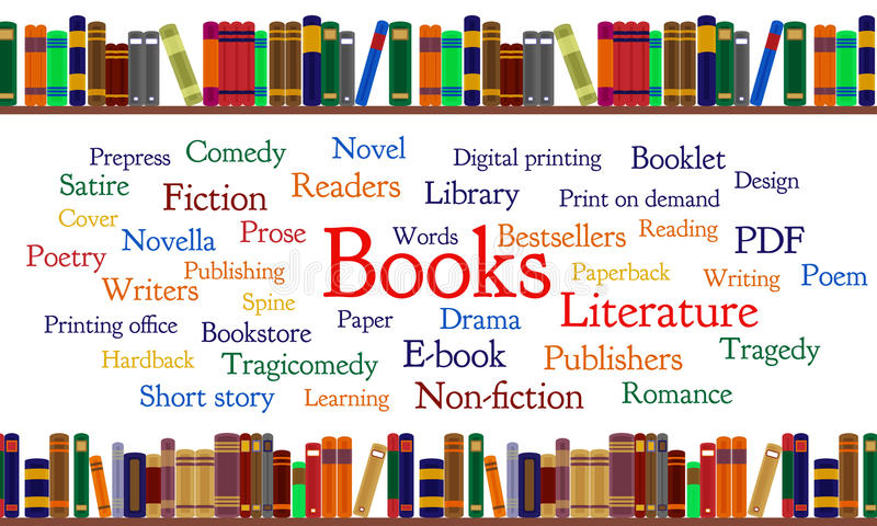 Books word cloud and books on shelf. Frequent words related to books. Major forms and genres