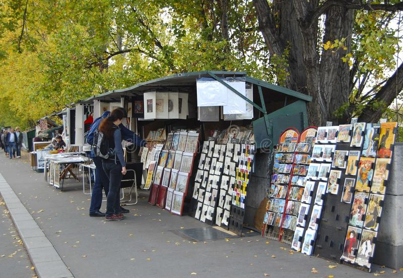 Booksellers on the Seine in Paris stock image