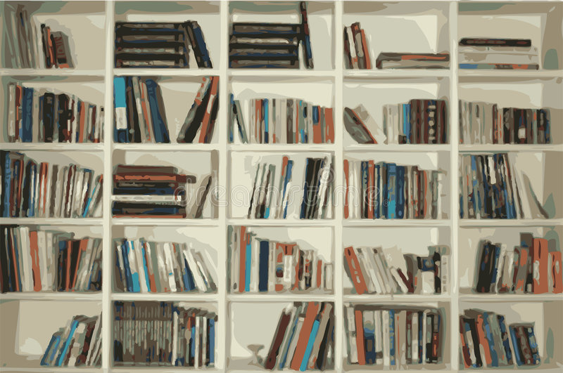 Bookshelf. A large bookshelf filled with plenty of books to read. Fully scalable vector illustration