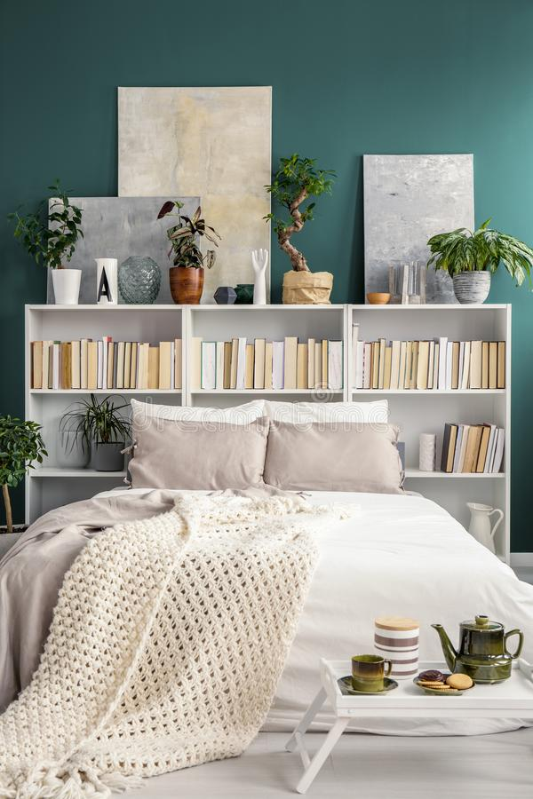 Bookshelf behind bed. White bookshelf behind a double bed with blanket and pillows, plants and paintings in a green bedroom interior royalty free stock photo