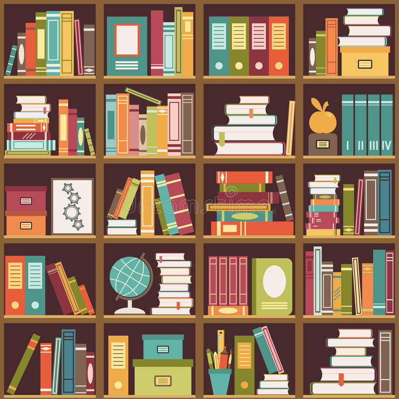 Bookshelf With Books Seamless Background Stock Vector