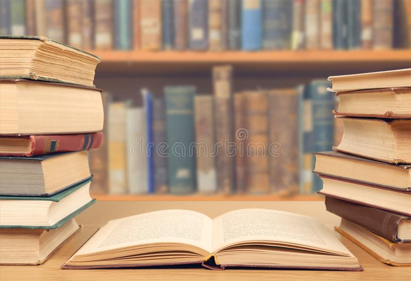 Bookshelf. Book encyclopedia librarian month philosophy academic royalty free stock images