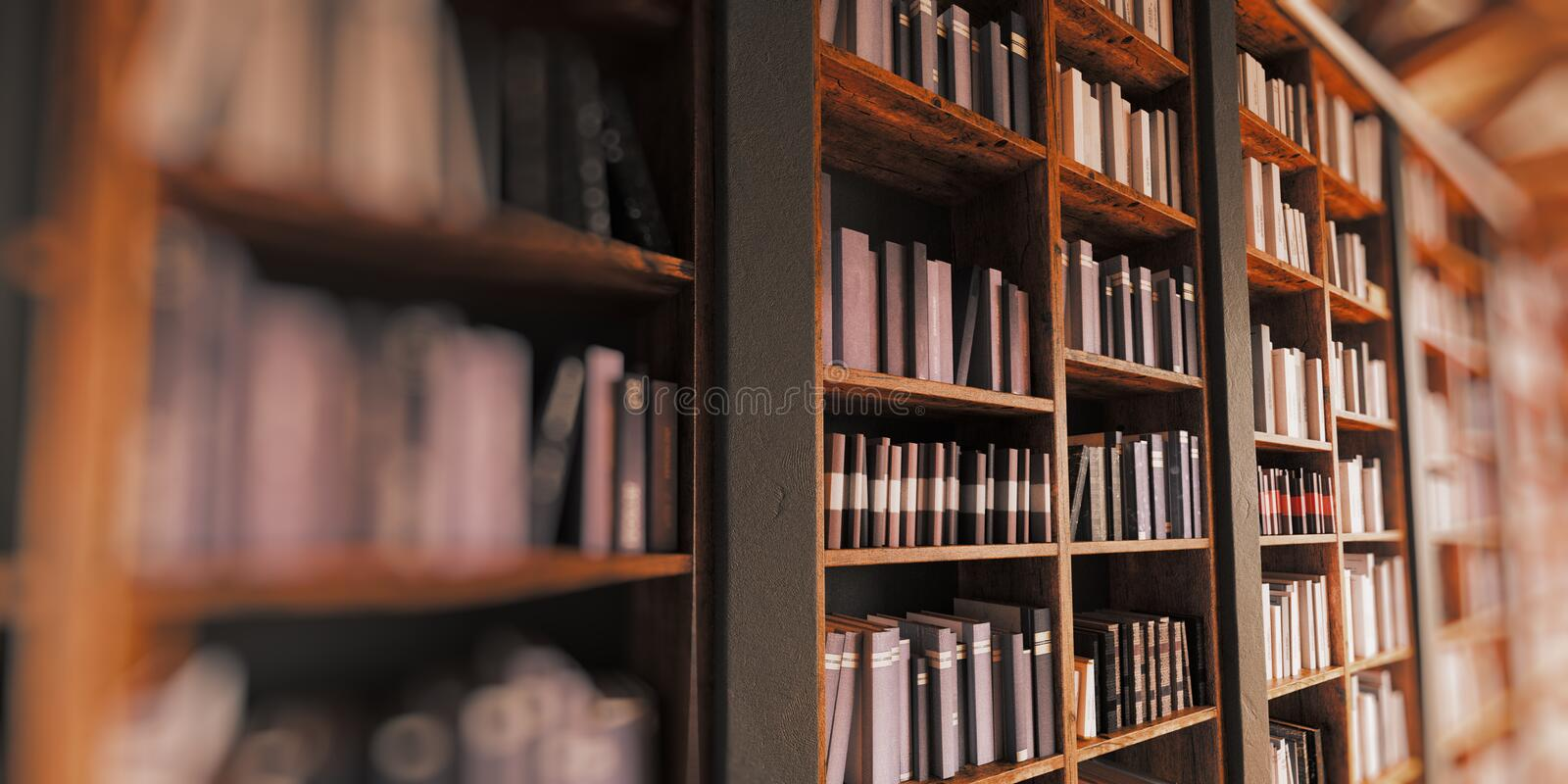 Bookshelf. With depth of field stock images