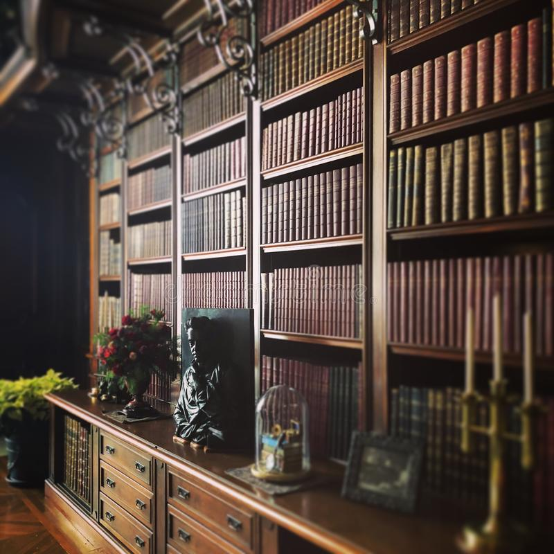 Bookshelf filled with books near a drawer with flower pot, statue and candle on it in. A bookshelf filled with books near a drawer with flower pot, statue and stock image