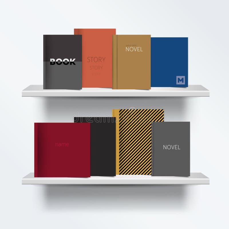 bookshelf Frontowy widok książki pokrywy pozycja na popielatym tle z cieniami ilustracja wektor