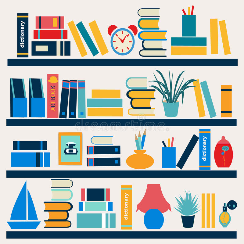 Bookshelf full of books - Illustration stock illustration