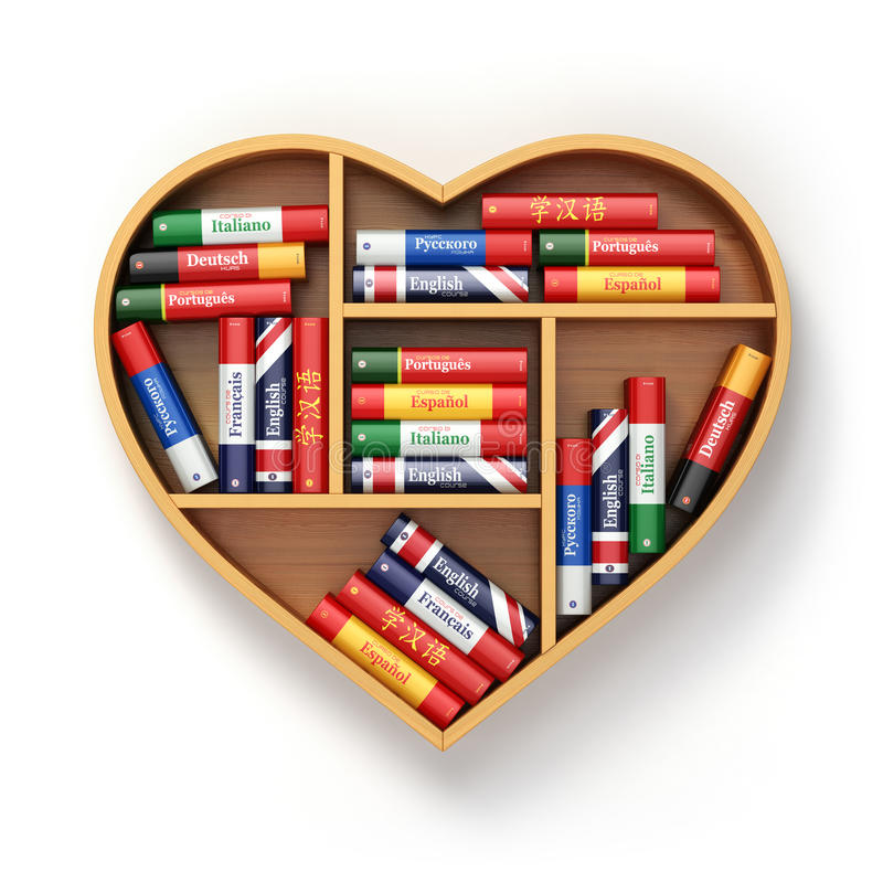Bookshelf with ictionaries in form of heart. Learning language c royalty free illustration