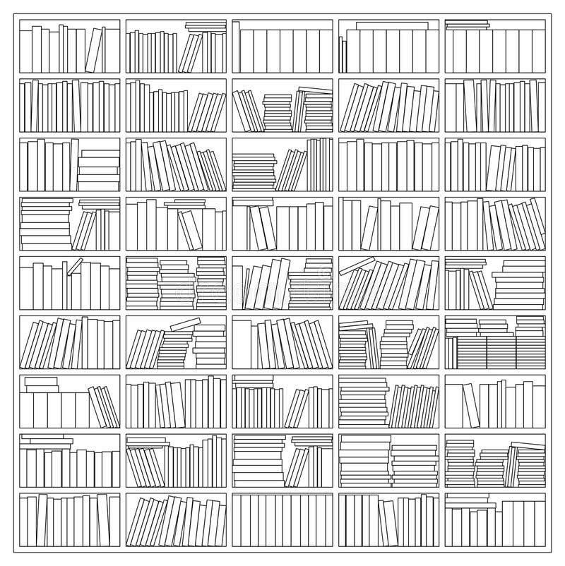 Bookshelf. Outline Drawing Vector Illustration Of a Bookshelf stock illustration