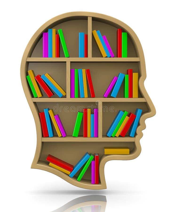 Bookshelf in the Shape of Human Head vector illustration