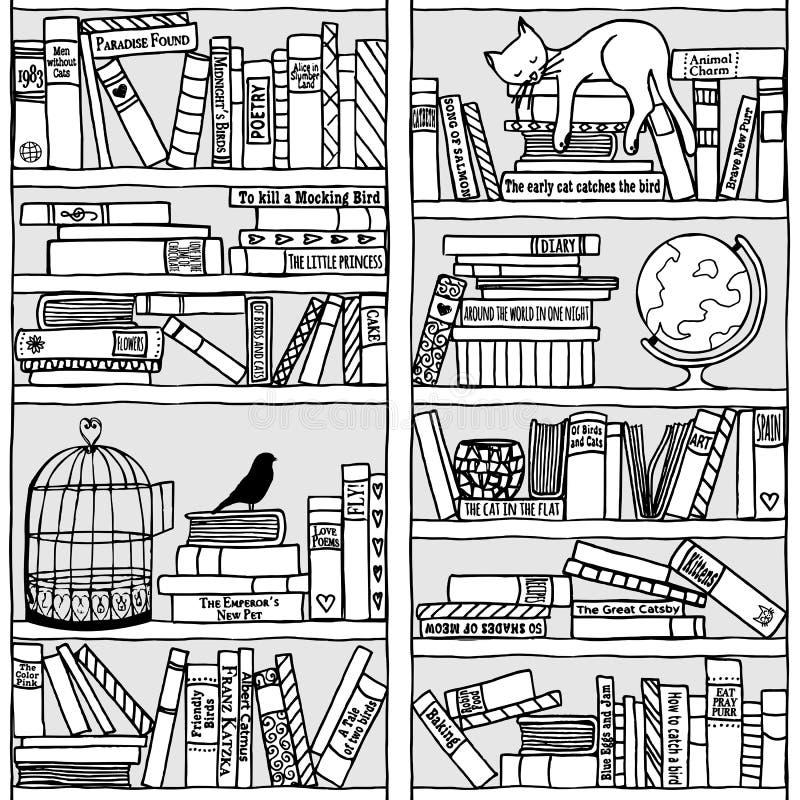 Bookshelf with sleeping cat (seamless pattern) royalty free illustration