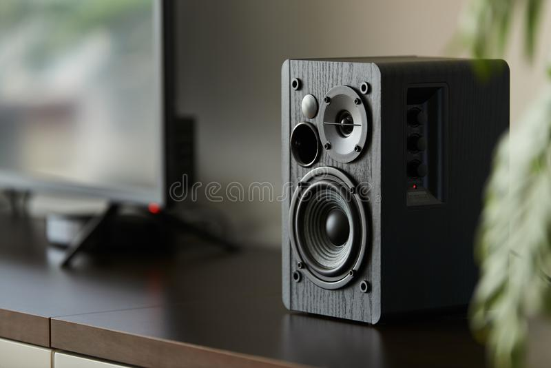 Bookshelf speaker. With digital TV and set top box on a TV stand stock image