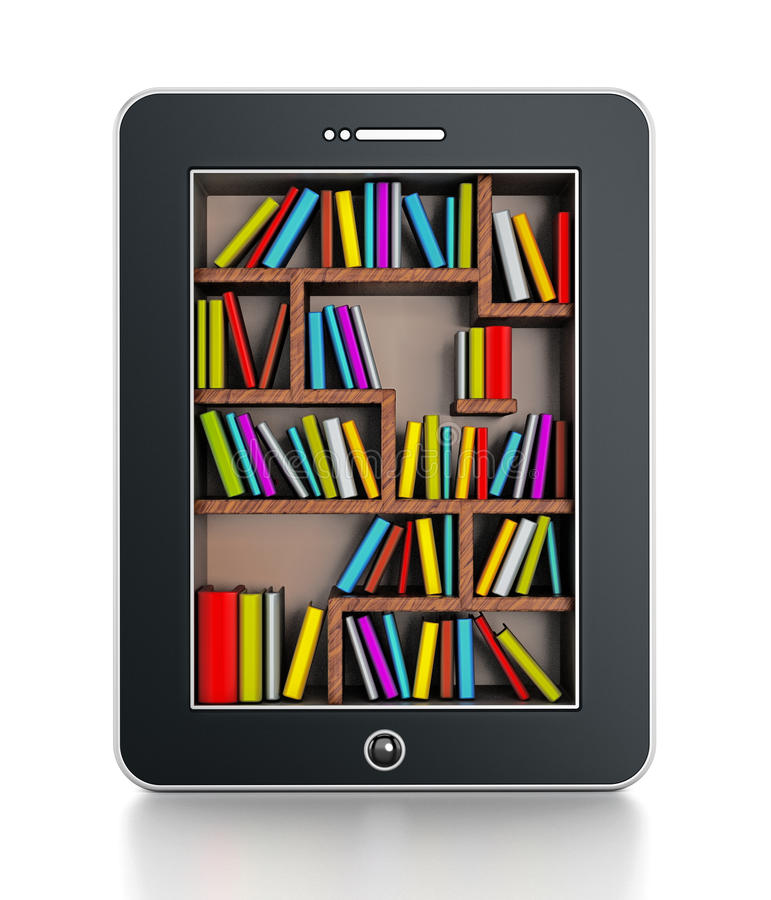 Bookshelf in tablet computer stock illustration