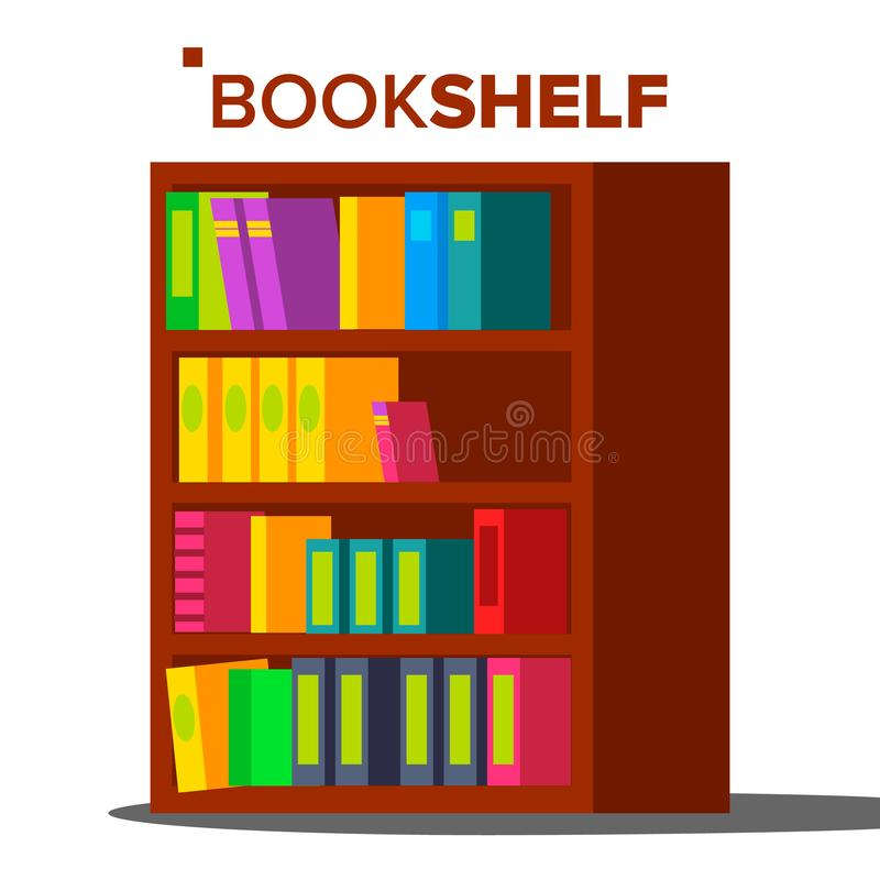Bookshelf Vector. Home Library Or Book Store. Bookcase Full Of Different Color Books. Isolated Flat Cartoon Illustration stock illustration