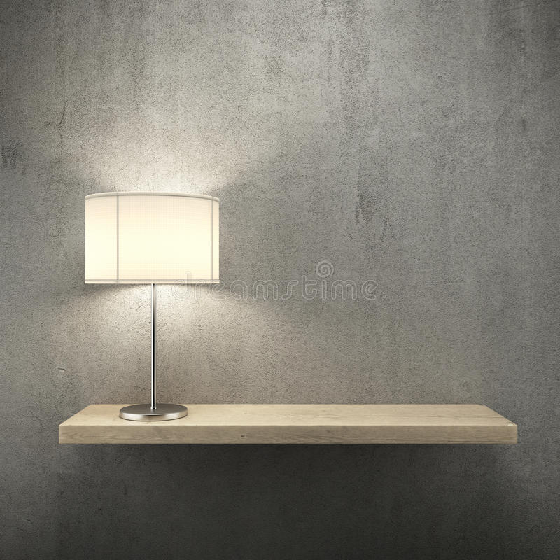Bookshelf on the wall with lamp. 3d render vector illustration