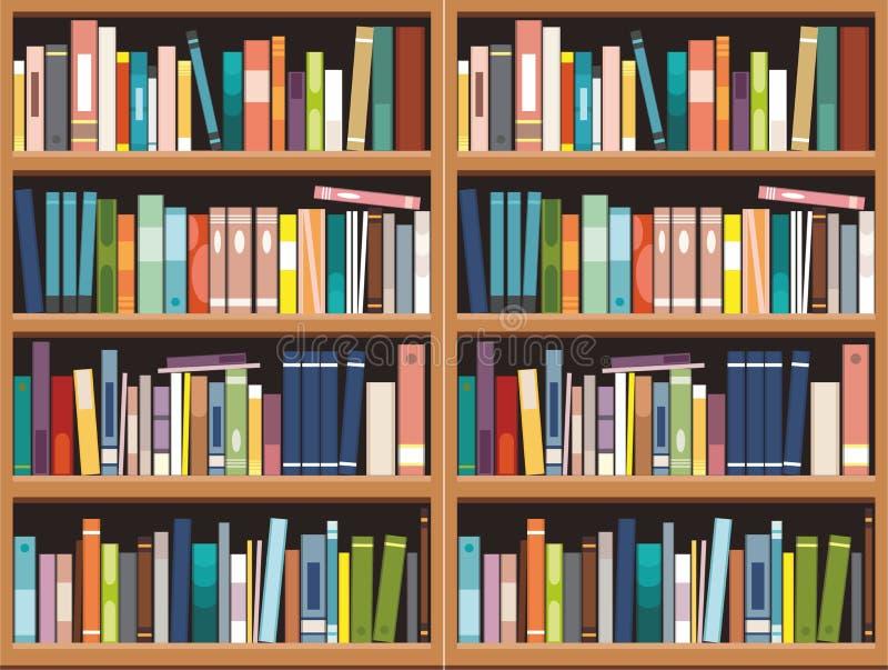 Bookshelve z książki tłem, Biblioteczna edukacja royalty ilustracja