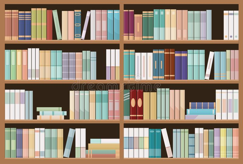 Bookshelves full of books. Education library and bookstore concept. Seamless pattern. stock illustration