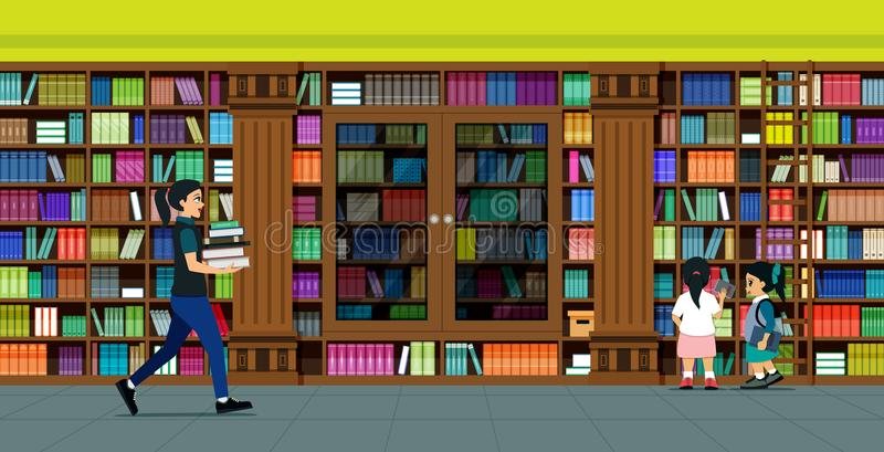Bookshelves library royalty free illustration