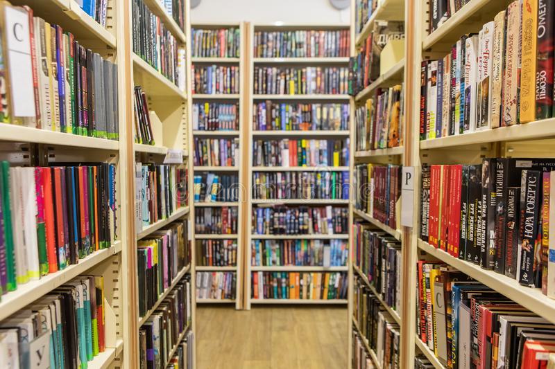 Bookshelves And Racks In The Library stock image