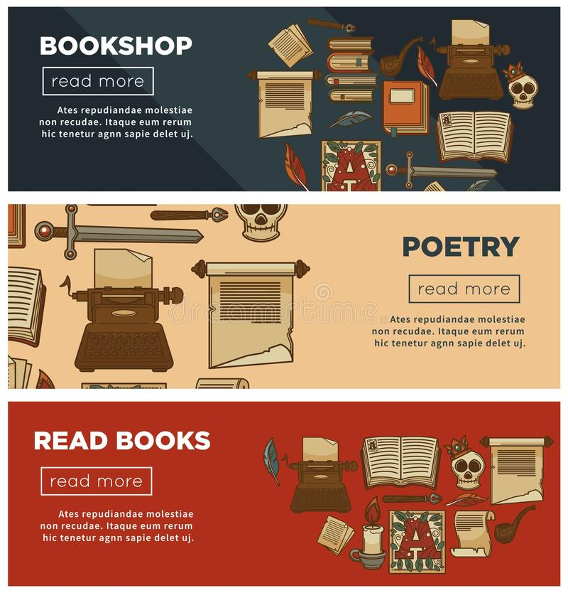 Bookshop or bookstore banners of vector library vintage books, ink quill and poetry stationery. Bookshop or bookstore web banners of vintage books and poetry stock illustration