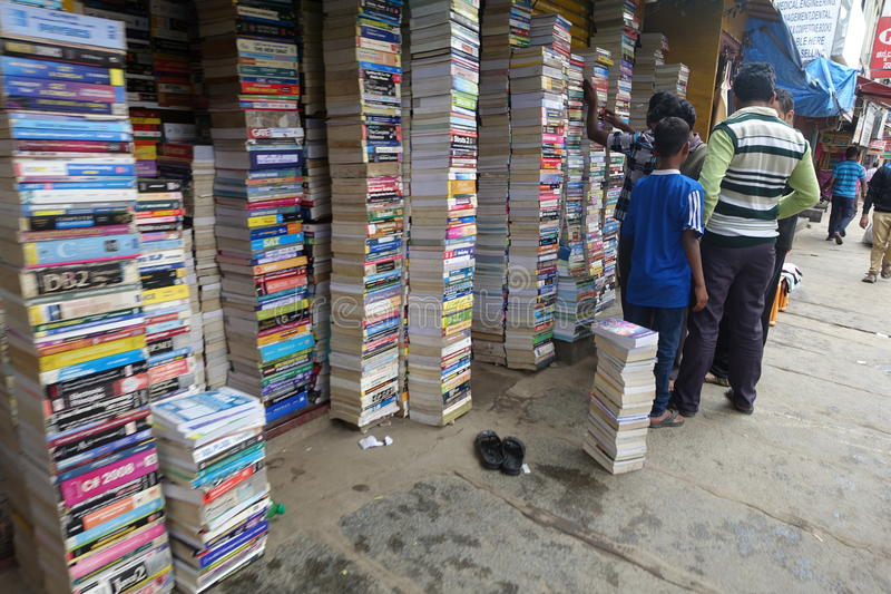 Bookstore in Bangalore, India. Many men at bookstore in Bangalore, India stock photo