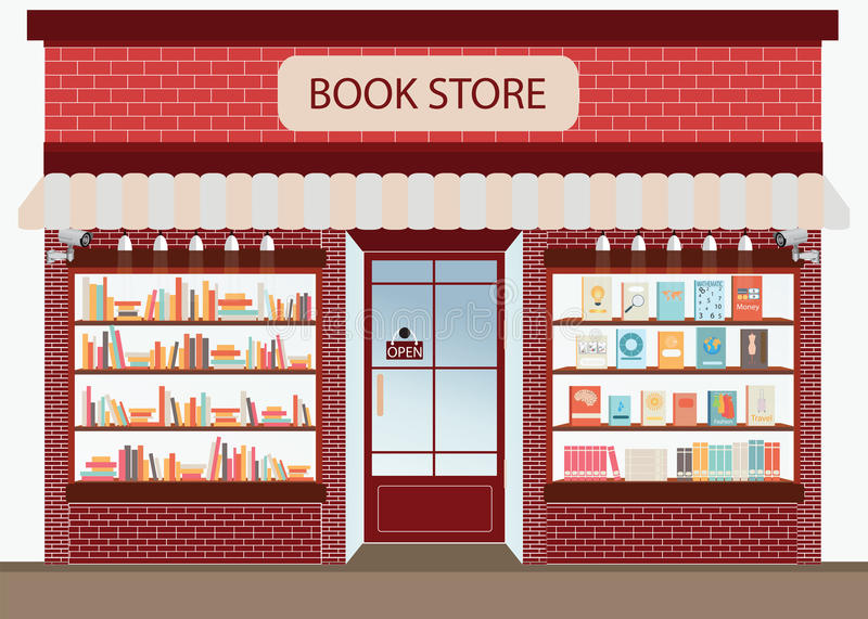 Bookstore with bookshelves. royalty free illustration