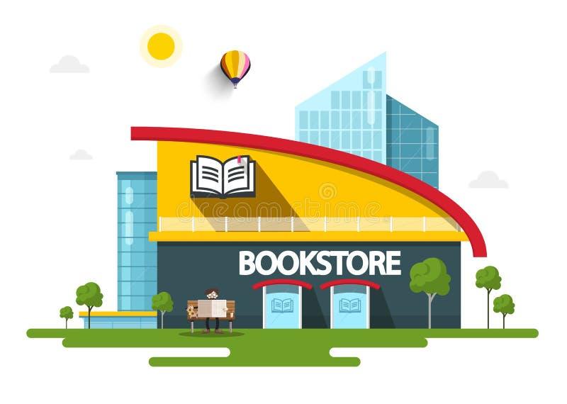 Bookstore budynek z Książkowym symbolem na fasadzie royalty ilustracja