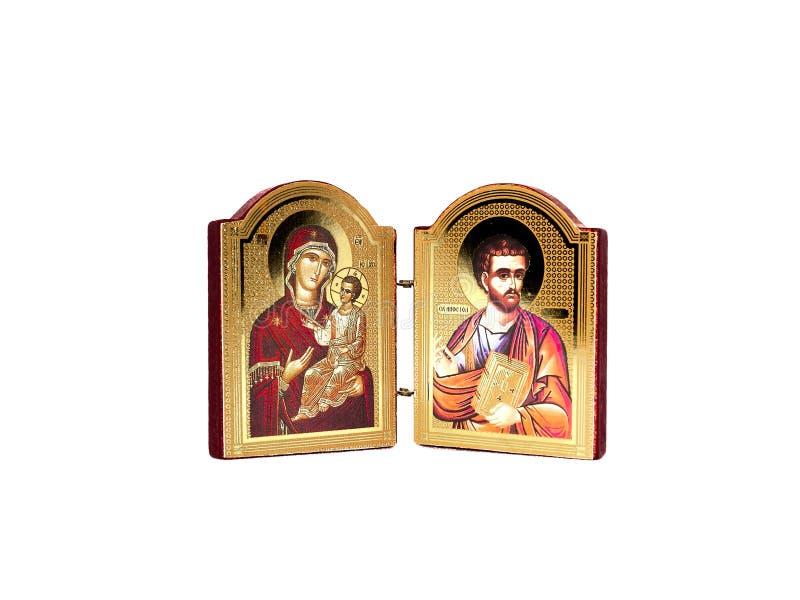 Bookstore icon Virgin and holy Luka in white background. Bogorodica i sveti luka.Serbian Glory royalty free stock photo