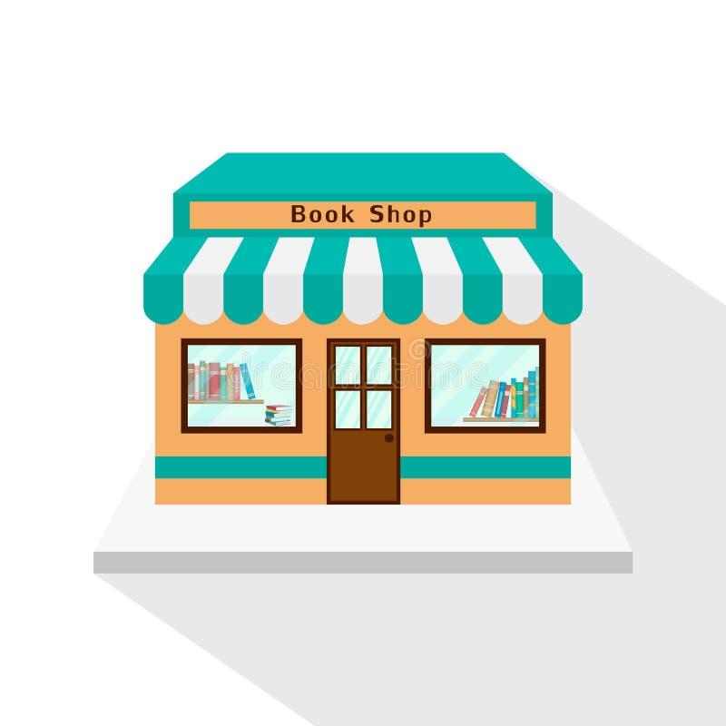 Bookstore ikona z długim płaskim cieniem na białym tle ilustracji