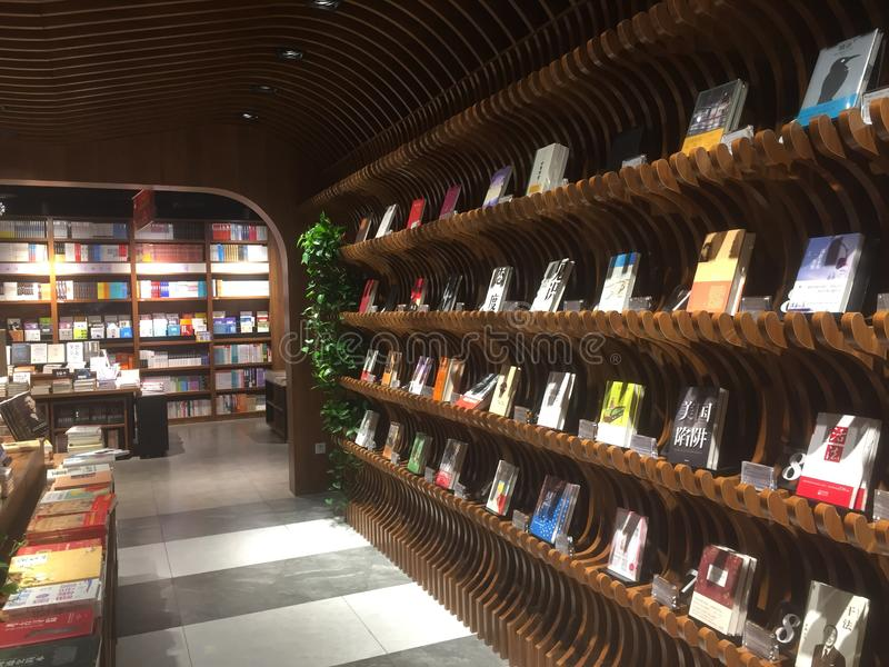 Bookstore interior view. Bookstore interior, bookshelf, new book, artistic in Chang`an Road, Xiaozhai, Xi`an China royalty free stock photography