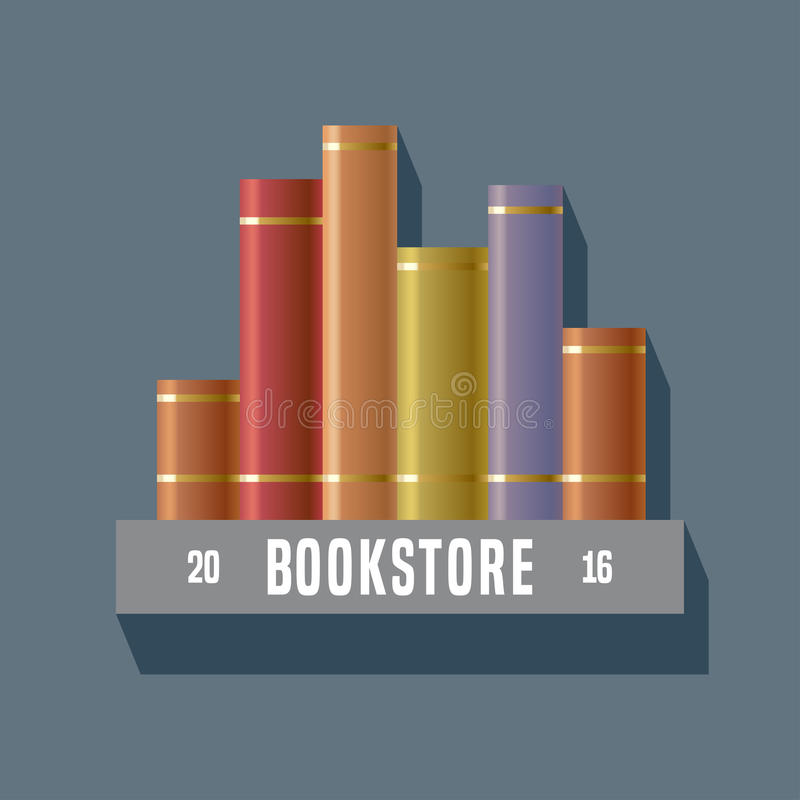 Bookstore, księgarnia, biblioteczny wektoru znak, ikona, symbol, emblemat, logo royalty ilustracja
