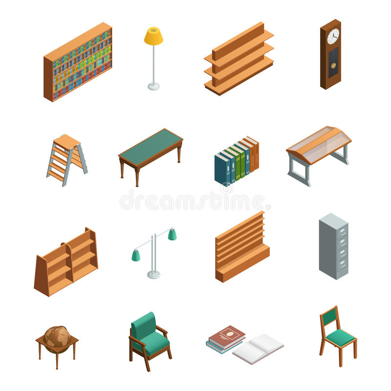 Bookstore Library Isometric Interior Elements vector illustration