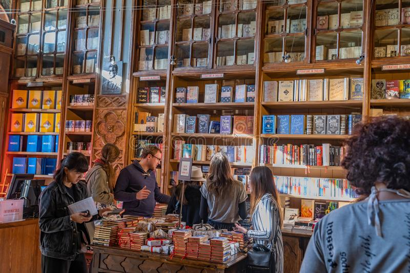 Bookstore and library of Porto. OPORTO, PORTUGAL, 12, DECEMBER, 2018: famous bookstore of Porto made in wood stock photography