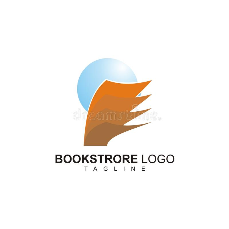 The Bookstore logo with blue globe design. Bookstore logo blue globe design symbol business creative wing stock illustration
