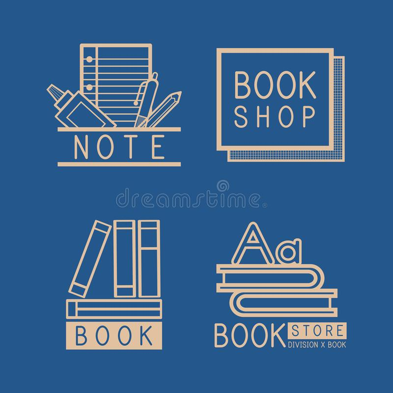 Bookstore logos and sign set vector stock illustration