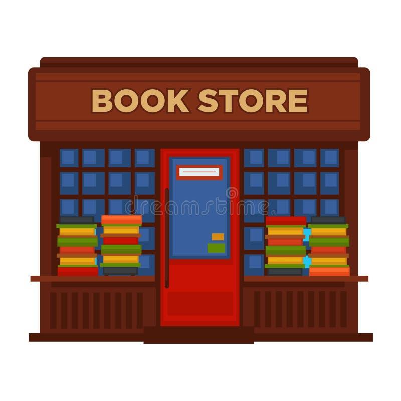 Bookstore lub księgarni budka fasadowego budynku wektorowy płaski projekt odizolowywał ikonę ilustracji