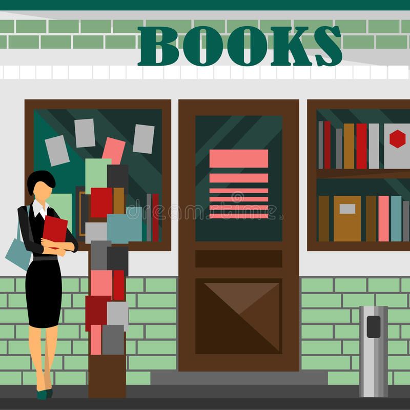 bookstore mall. Books shop building stock illustration