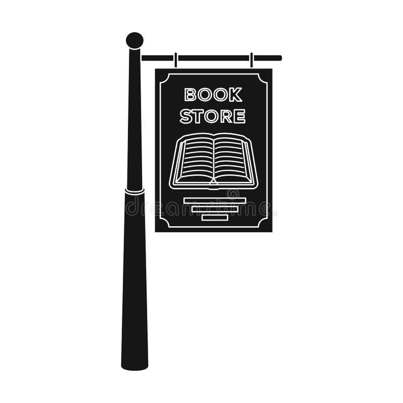 Bookstore signage ikona w czerń stylu odizolowywającym na białym tle Biblioteki i bookstore symbolu zapasu wektor ilustracji