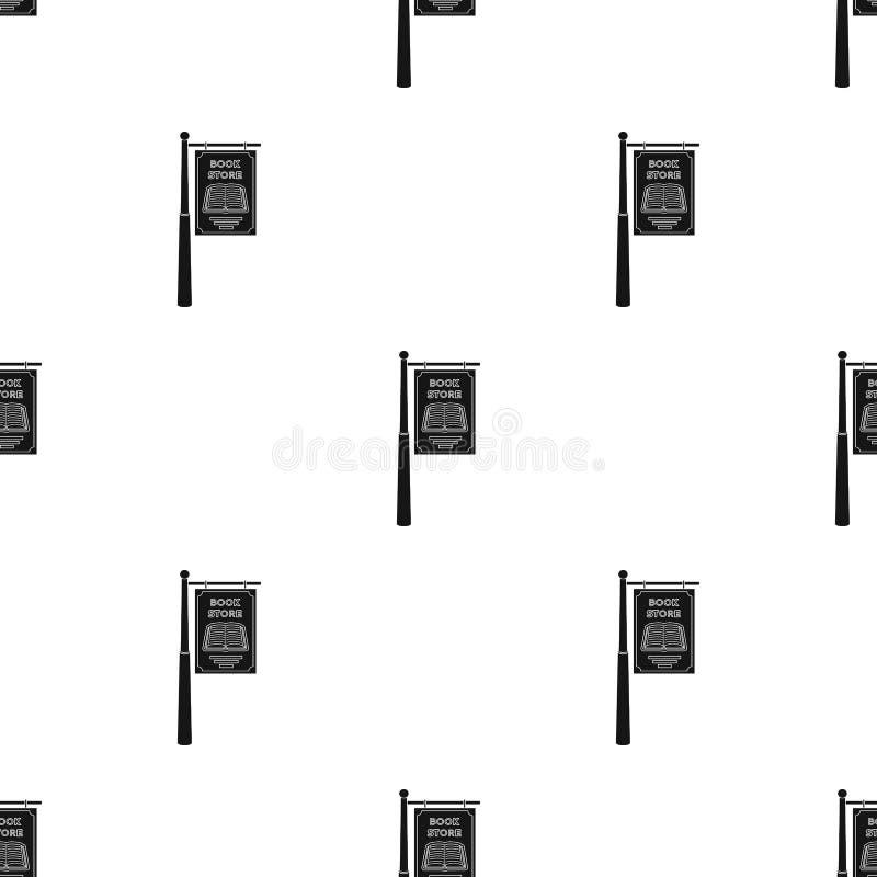 Bookstore signage ikona w czerń stylu odizolowywającym na białym tle Biblioteki i bookstore symbolu zapasu wektor ilustracja wektor