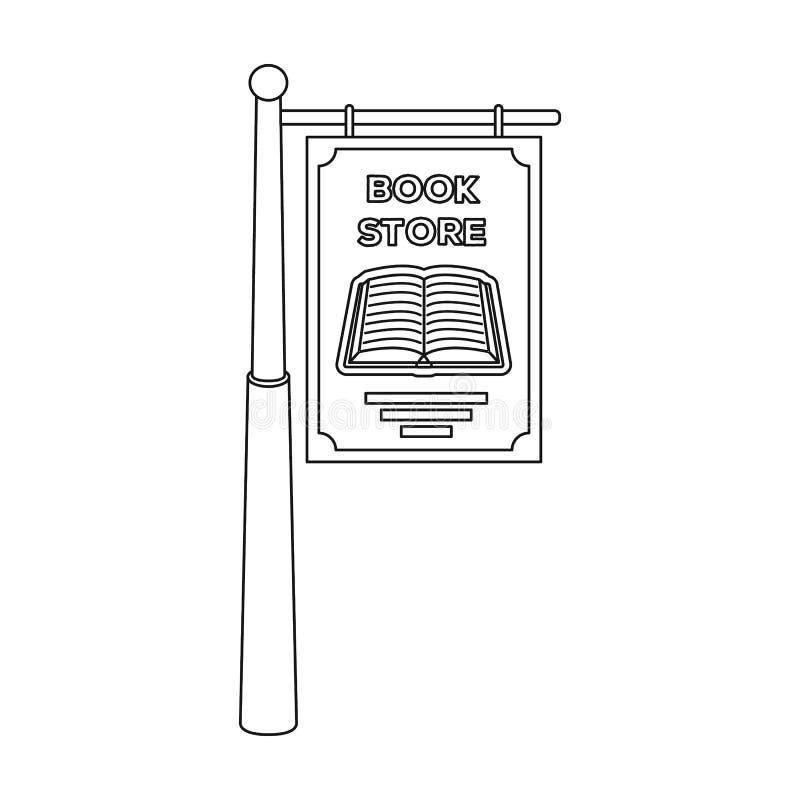 Bookstore signage ikona w konturu stylu odizolowywającym na białym tle Biblioteki i bookstore symbolu zapasu wektor ilustracja wektor