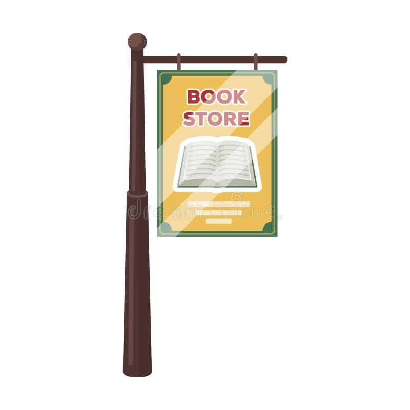 Bookstore signage ikona w kreskówka stylu odizolowywającym na białym tle Biblioteki i bookstore symbolu zapasu wektor ilustracji