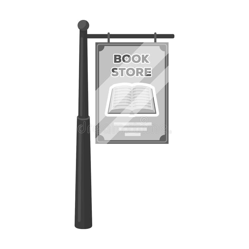 Bookstore signage ikona w monochromu stylu odizolowywającym na białym tle Biblioteki i bookstore symbolu zapasu wektor ilustracji
