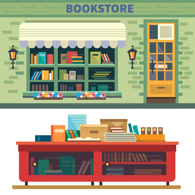 Bookstore. Storefront and a shelf with books. Vector flat illustration stock illustration