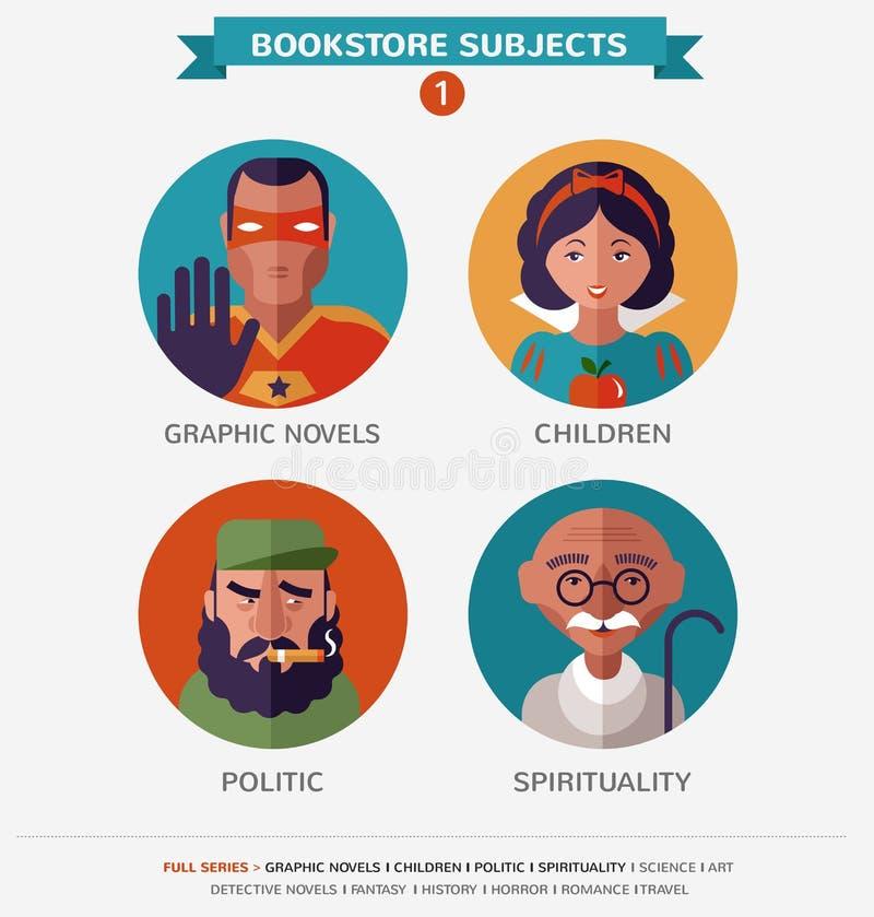 Bookstore tematy, płaskie ikony i charaktery, royalty ilustracja