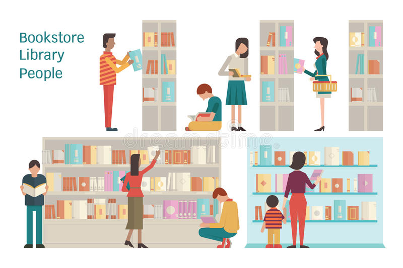 Bookstore. Vector illustration of bookstore, library, bookshelf, various character of people, diverse and multi-ethnic, adult and teenager, and book. Flat design royalty free illustration