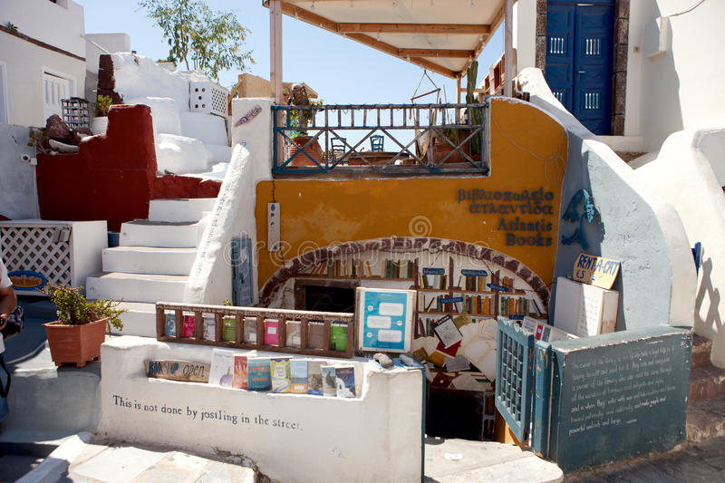 Bookstore in the village of Oia, Santorini. Greece royalty free stock photography