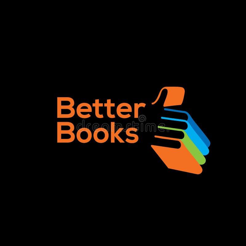 Bookstore wektoru logo Biblioteczny logo rezerwuje loga royalty ilustracja