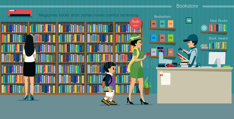 Bookstore. Women are buying books with a credit card inside the bookstore vector illustration