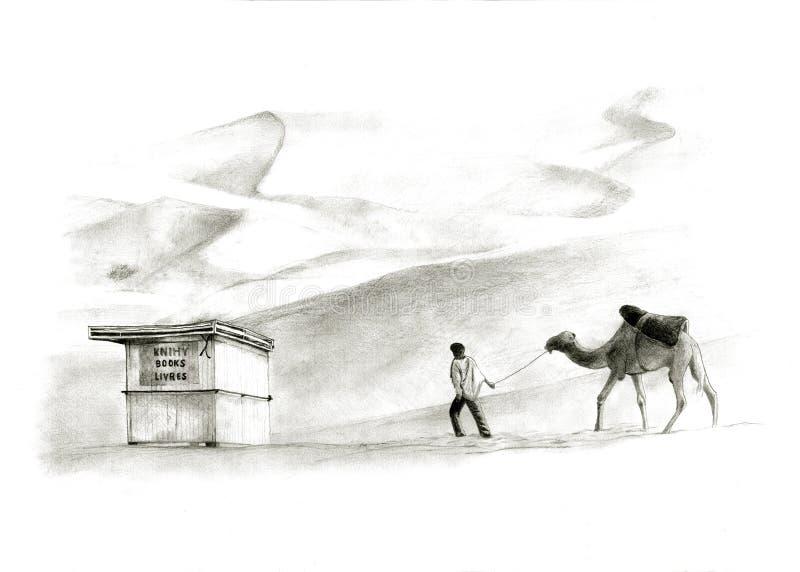 Bookstorein o deserto imagem de stock