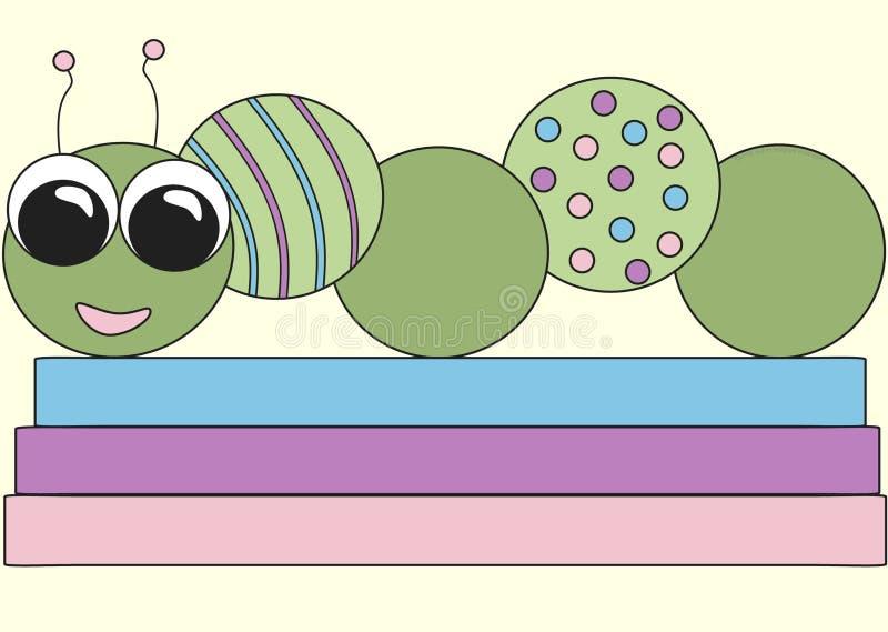 Download Bookworm stock illustration. Illustration of pink, purple - 6662829