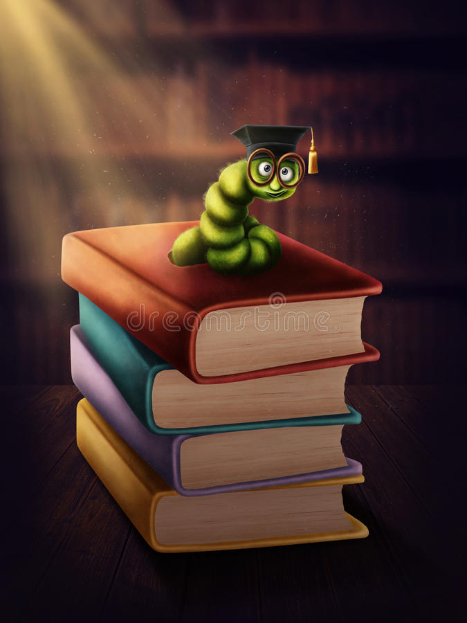Bookworm with glasses royalty free illustration